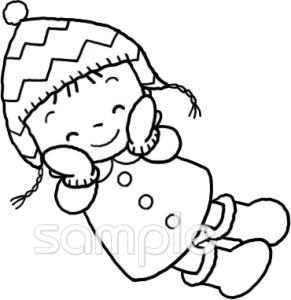女の子 防寒着イラストなら小学校幼稚園向け保育園向け自治会