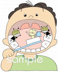 保健室向け虫歯予防無料イラストお試しフリー素材(カット)