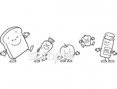食べ物イラストなら給食小学校幼稚園向け保育園向けのかわいい