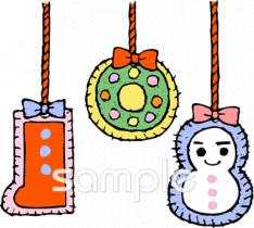 クリスマスオーナメントイラストなら小学校幼稚園向け保育園向けの