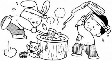 餅つき 正月 臼イラストなら小学校幼稚園向け保育園向けの