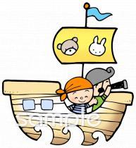 海賊船 望遠鏡イラストなら小学校幼稚園向け保育園向けのかわいい
