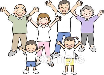 ラジオ体操 家族イラストなら小学校幼稚園向け保育園向けの