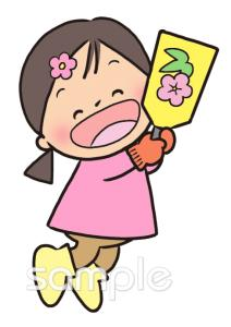 羽子板 女の子イラストなら小学校幼稚園向け保育園向けのかわいい